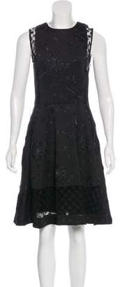 Thakoon Lace-Paneled Metallic Dress