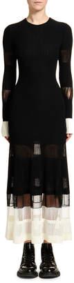 Alexander McQueen Ottoman-Knit Lace-Inset Dress