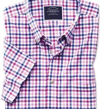 Charles Tyrwhitt Slim fit poplin short sleeve pink multi gingham shirt