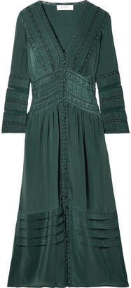 Sea Azzedine Embroidered Crepe De Chine Midi Dress - Emerald