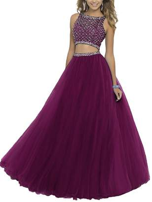 GRP Uryouthstyle Long Two Pieces Beaded Prom Gowns Bodice Evening Dress RD US3