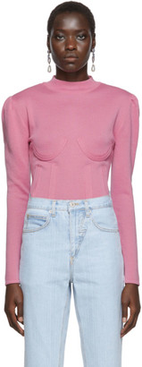 Pushbutton Pink Knit Bustier Sweater