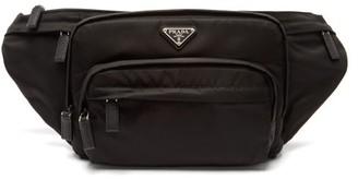 Prada Logo Plaque Nylon Belt Bag - Mens - Black