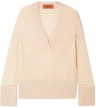 Missoni Crepe De Chine-paneled Wool-blend Sweater - Baby pink