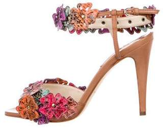 Brian Atwood Floral Snakeskin Sandals