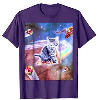 Laser Eyes Space Cat Riding Rainbow Pizza T-Shirt