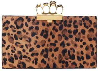 Alexander McQueen Four-Ring leopard-print calf hair clutch