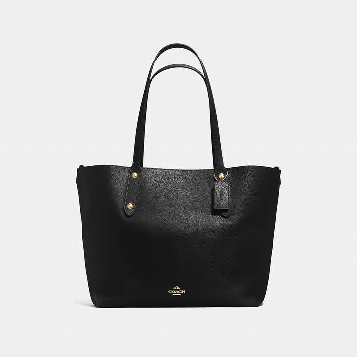 Coach   COACH Coach Large Market Tote In Polished Pebble Leather