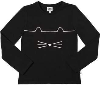 Karl Lagerfeld Choupette Glitter Cotton Jersey T-Shirt