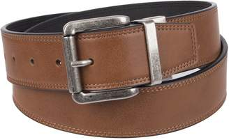 Weatherproof Men's Casual Reversible Belt with Rotated Buckle, Black Brown/Silver Buckle