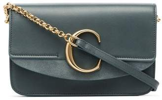 Chloé blue C ring mini leather and suede shoulder bag