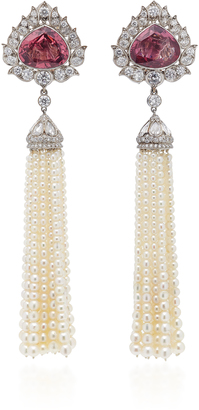 Munnu The Gem Palace Spinel Diamond and Pearl Tassel Earrings