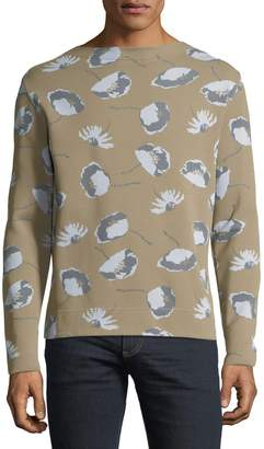 Valentino Men's Pique Knitwear Floral-Print Sweater