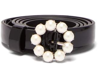 Miu Miu Flower-buckle patent-leather belt