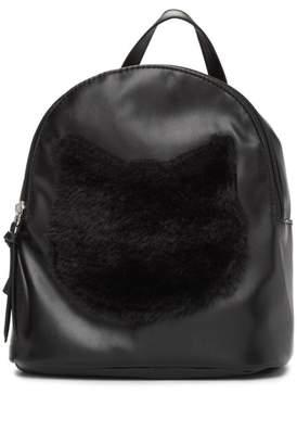 T-Shirt & Jeans Mini Faux Fur Cat Face Backpack
