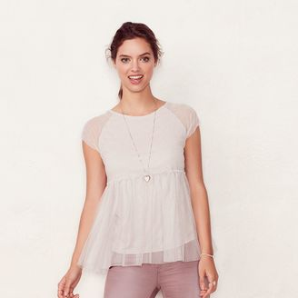 Women's LC Lauren Conrad Tulle Babydoll Top $40 thestylecure.com