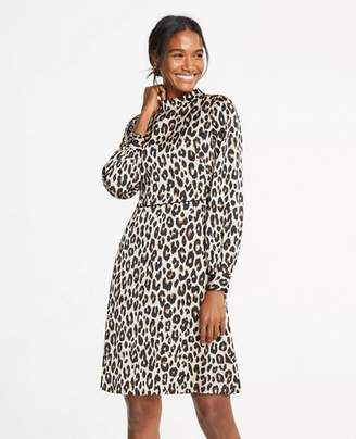 Ann Taylor Tall Spotted Mock Neck Flare Dress