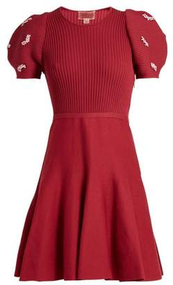 Giambattista Valli Embellished Ribbed Knit Cotton Dress - Womens - Burgundy
