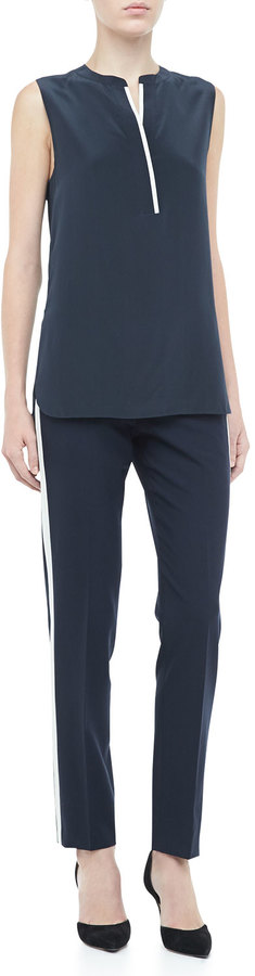 Vince Skinny Strapping Contrast-Color Trousers