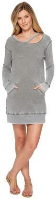 Allen Allen Long Sleeve Cut Neck Crew Dress Women's Dress