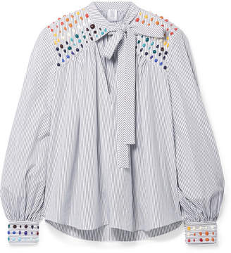 Rosie Assoulin Embellished Striped Cotton-poplin Blouse - White