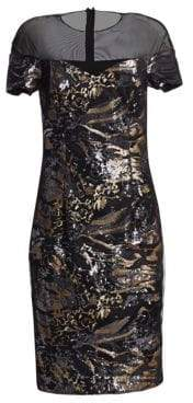 Alice + Olivia Teri Jon by Rickie Freeman Illusion Mesh Sequin Midi Dress