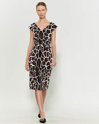 Samantha Sung White & Camel Ashley Jaguar Sheath Dress