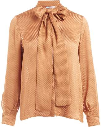 WtR - Vaslav Bronze Bow Detail Silk Blend Blouse
