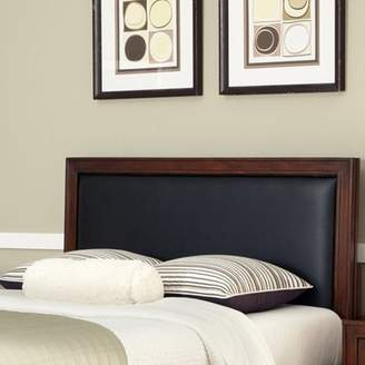 Home Styles Duet Queen Panel Headboard with Black Leather Inset, Rustic Cherry