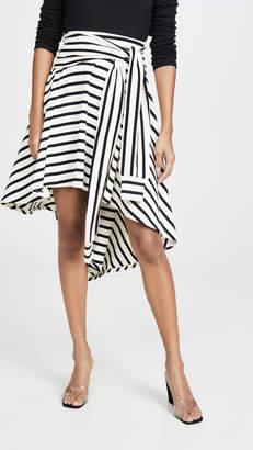 Sonia Rykiel Striped Jersey Asymmetrical Skirt