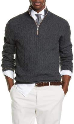Brunello Cucinelli Slim Quarter Zip Cashmere Sweater