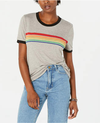 Rebellious One Juniors' Rainbow-Striped Ringer T-Shirt