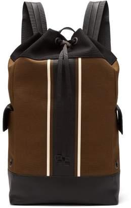Bottega Veneta Striped Leather Trimmed Canvas Backpack - Mens - Khaki