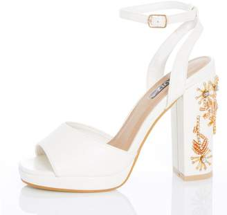Quiz TOWIE White Jewel High Heel Sandals