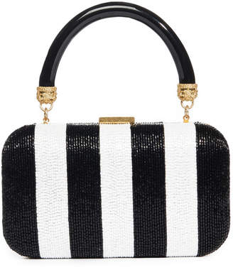 Alice + Olivia Shirley Embellished Stripe Clutch