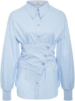 Tibi Satin Poplin Detachable Corset Shirt