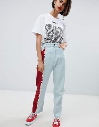 House of Holland vivid contrast mom jeans