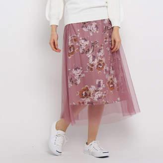 Dessin (デッサン) - Dessin(Ladies) 【洗える】【ウエストゴム】フラワーチュールスカート