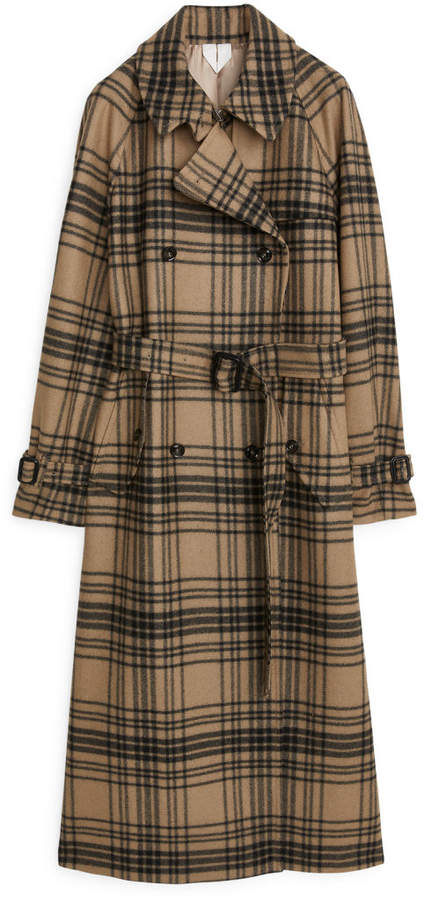 Arket Checked Wool Trench Coat