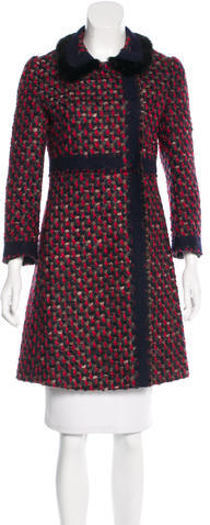prada Prada Fur-Trimmed Tweed Coat