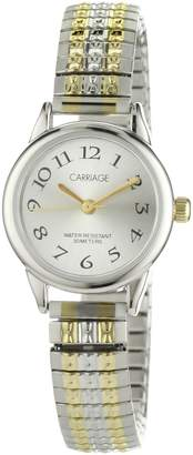 Timex Carriage Women's C3C605 Silver-Tone Dial Two-Tone Stainless Steel Expansion Band Watch