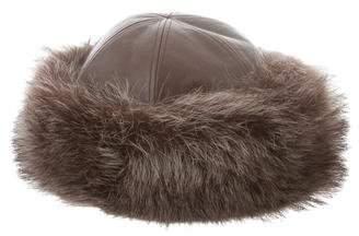Hermes Fur-Trimmed Leather Hat