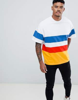 Asos DESIGN oversized t-shirt with bright color block in white