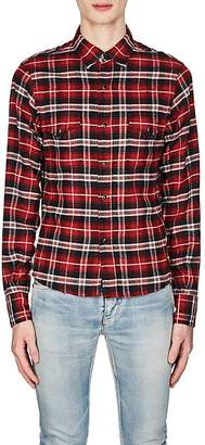 Saint Laurent Men's Plaid Flannel Western Shirt