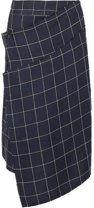 Acne Studios Harleth Asymmetric Checked Linen Skirt - Navy