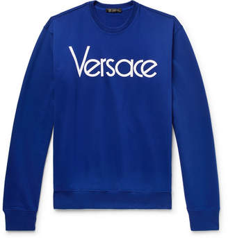 Versace Logo-embroidered Loopback Cotton-jersey Sweatshirt - Blue