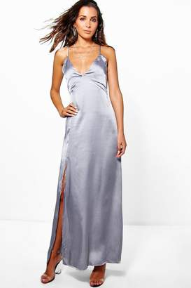 boohoo Perrie Satin Strappy Seam Detail Slip Dress $46 thestylecure.com