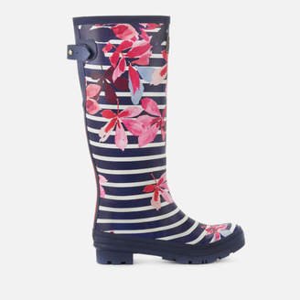 Joules Women's Welly Print Back Adjustable Tall Wellies - French Navy Chestnut Leaves Stripe