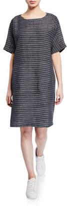 Eileen Fisher Petite Pinstripe Delave Linen Short-Sleeve Tunic Dress