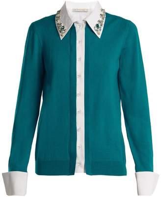 Mary Katrantzou Bextor Crystal Embellished Wool Cardigan - Womens - Green White